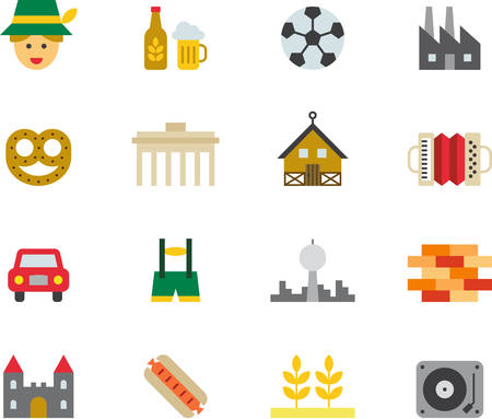 GERMANY colored flat icons Иллюстрация