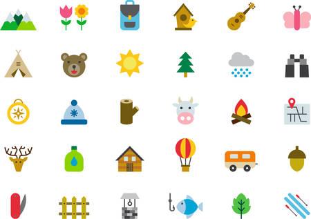 Naturaleza, el caminar, acampando y ACTIVIDADES AL AIRE LIBRE planas iconos de colores
