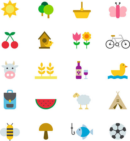 SPRING PICNIC & colored flat icons Vectores