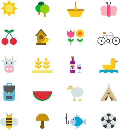 Picnic de Primavera y los iconos planos coloreados
