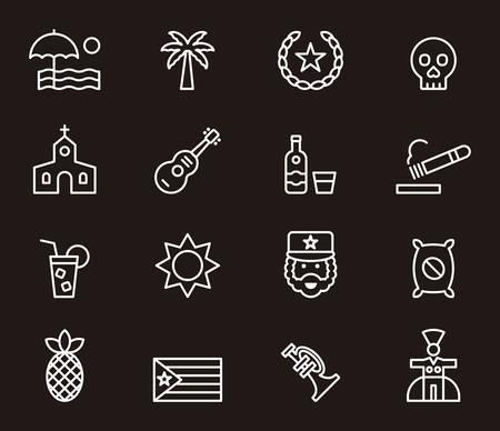 che guevara: CUBA outline icons