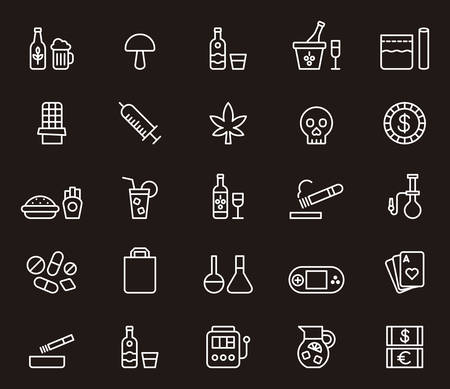 Drugs & Addictions outline icons Иллюстрация