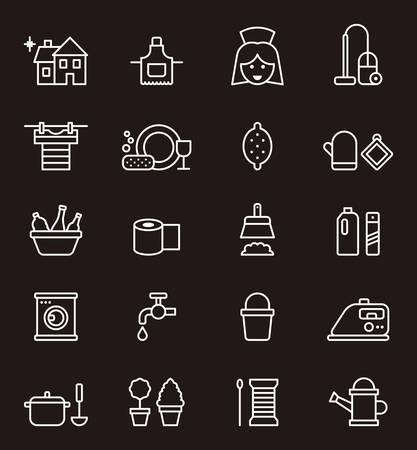 lavar trastes: iconos contorno de limpieza