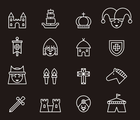 troubadour: Medieval outline icons