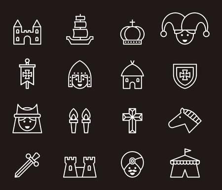 minstrel: Medieval outline icons