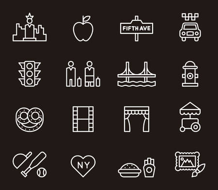 big apple: New York outline icons