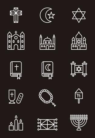 chanukiah: RELIGION outline icons