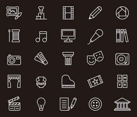 Arte e intrattenimento icone contorno