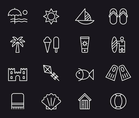 kite surf: SUMMER & BEACH white outline icons Illustration