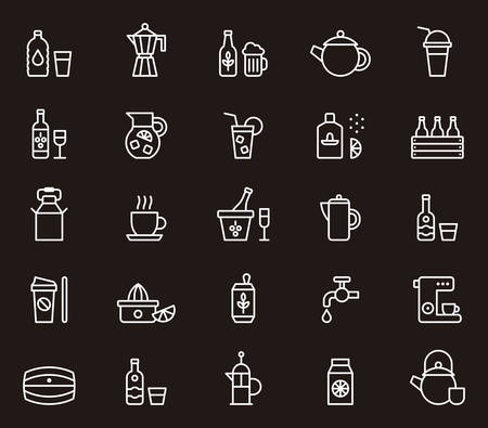 canned drink: DRINKS white outline icons