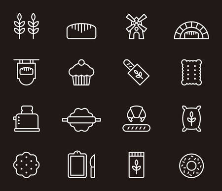 white bread: BREAD & BAKERY white outline icons Illustration