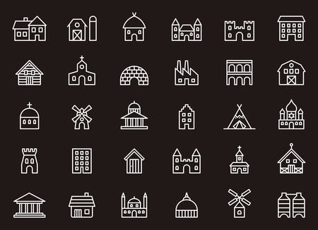 barns: BUILDINGS & CONSTRUCTIONS white outline icons Illustration