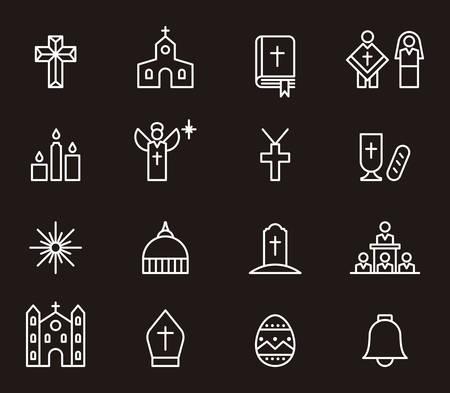 catholic mass: CATHOLIC RELIGION white outline icons