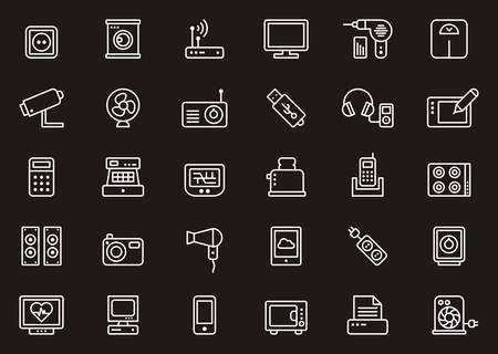 electronic devices: HOME APPLIANCES & ELECTRONIC DEVICES white outline icons Illustration