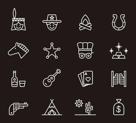 far: FAR WEST white outline icons