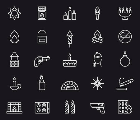 fireplace lighter: FIRE white outline icons Illustration