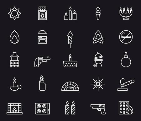 FIRE white outline icons Illustration