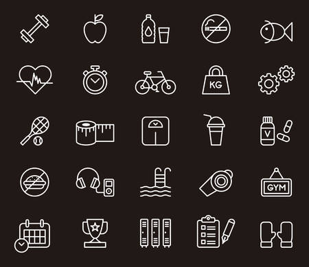boxing tape: GYM, FITNESS & HEALTHCARE white outline icons