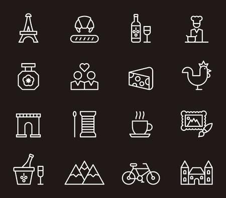 castles needle: FRANCE outline icons Illustration