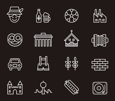 food icons: GERMANY outline icons Illustration