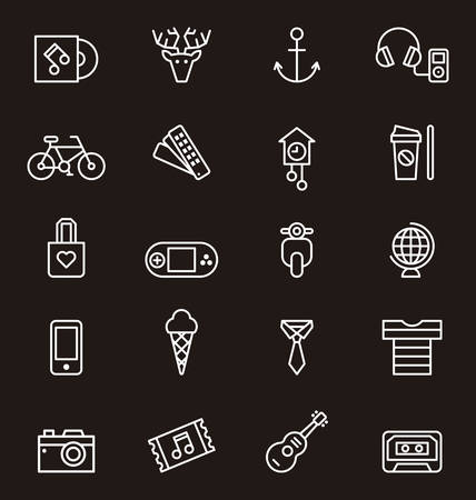 old world: HIPSTER outline icons