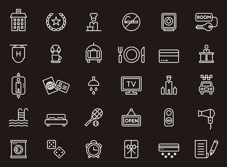 hotel icons: HOTEL & TRAVEL outline icons