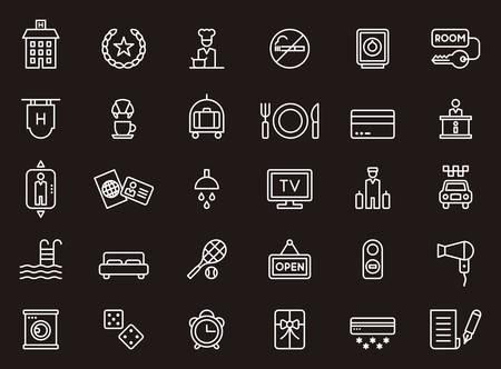 HOTEL & TRAVEL contour icônes