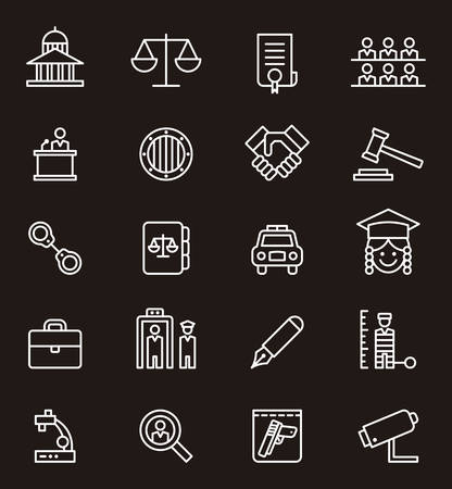 JUSTICE & LAW white outline icons