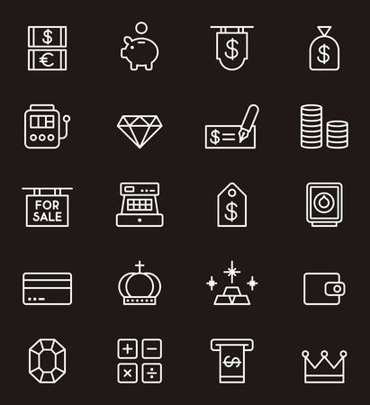 bankcard: MONEY white outline icons