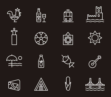 port wine: PORTUGAL white outline icons
