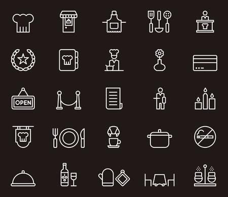 restaurant icons: RESTAURANT white outline icons