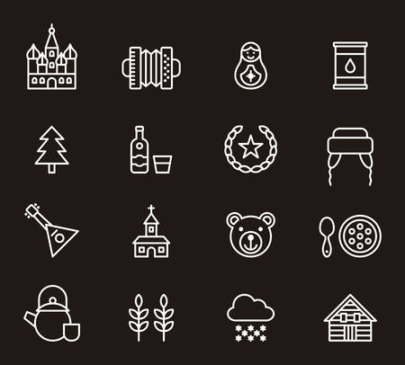 matrioshka: RUSSIA white outline icons