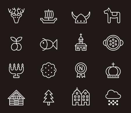 SWEDEN white outline icons