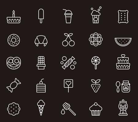 SWEETS & CANDYS wit overzicht pictogrammen Vector Illustratie