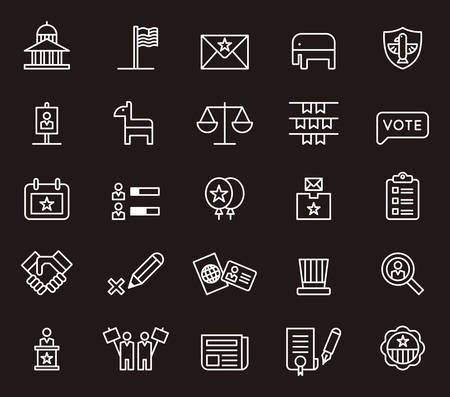 politics: US POLITICS white line icons