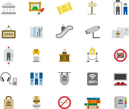 iconos de colores plana MUSEO