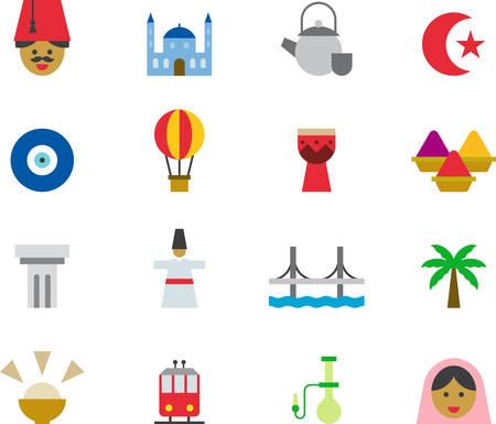 TURQUÍA coloreado iconos planos