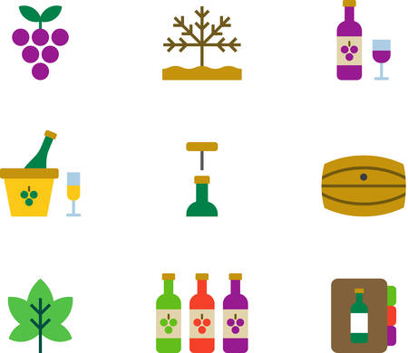 colored: WINE flat colored icons Illustration
