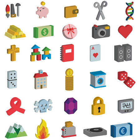 MISCELLANY 3D icons Vectores