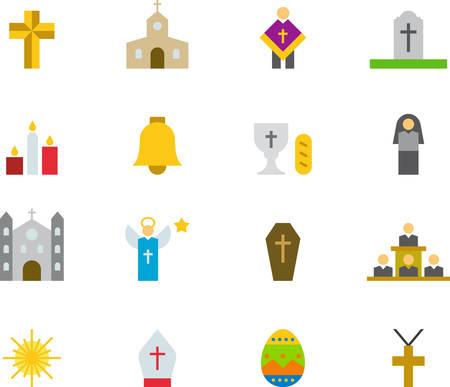 catholic mass: CATHOLIC RELIGION flat colored icons Illustration