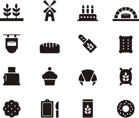 donut shop: BREAD & BAKERY glyph icons