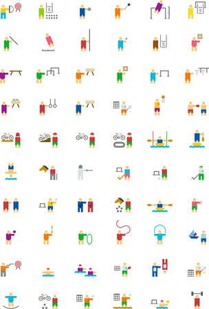 natación sincronizada: DEPORTES iconos de colores planos Vectores