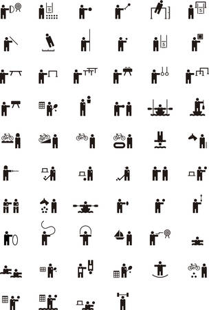 synchronized: SPORTS glyph icons Illustration