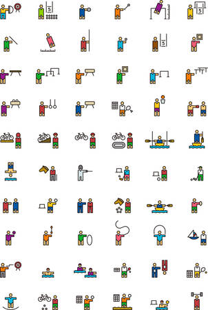 pentathlon: SPORTS colored outline icons Illustration