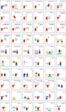 terrain de handball: SPORTS plates icônes colorées