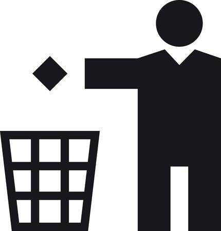 a Man throwing a paper in a bin
