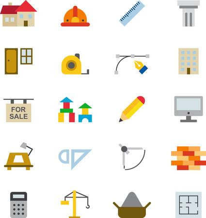 Arquitectura Y Construcción De Color Iconos Planos Ilustraciones ...