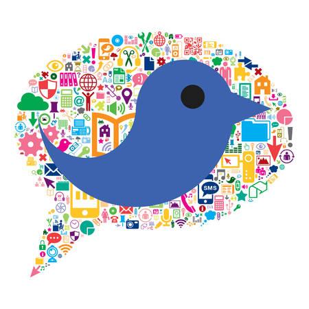 Bird inside a speech bubble conceptual