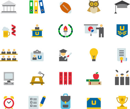 COLLEGE & EDUCATION flat colored icons