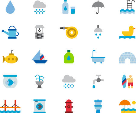 WATER RELATED flat colored icons